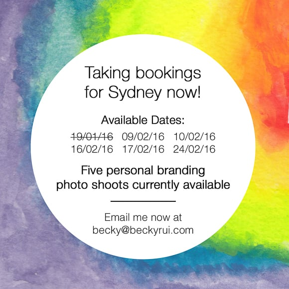 Becky Rui Sydney Availability 2016