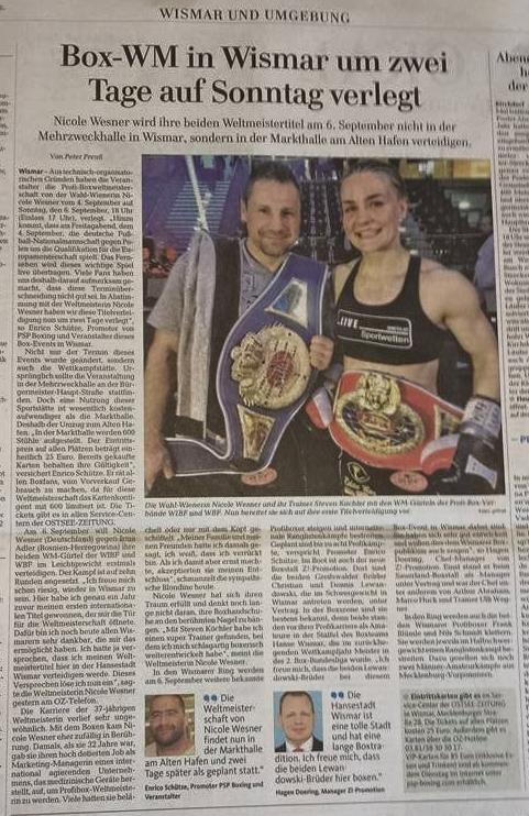Ostsee-Zeitung 8./9. Augst 2015