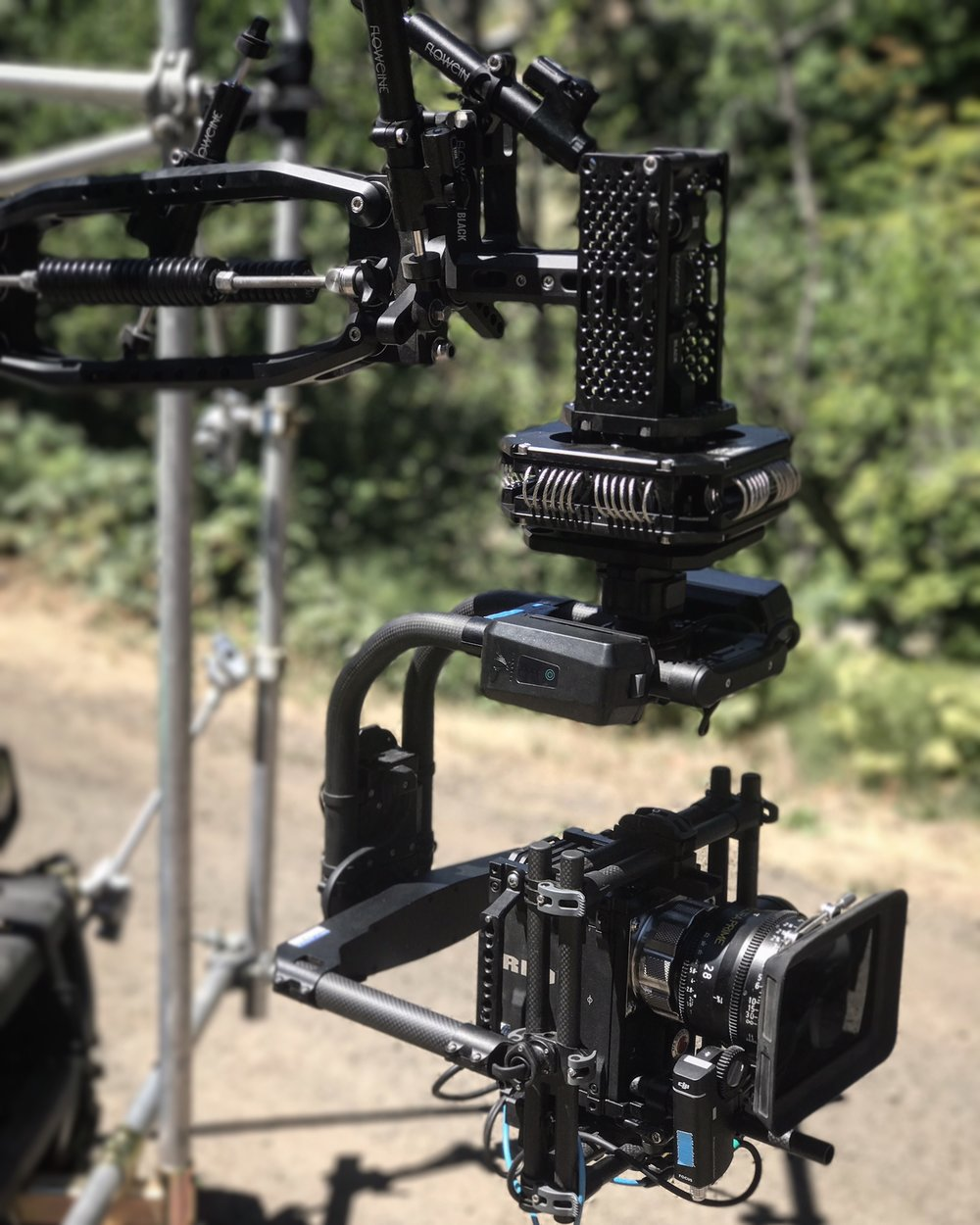 Black Arm with the MoVI Pro, RED Dragon, Arri ULTRA Prime.