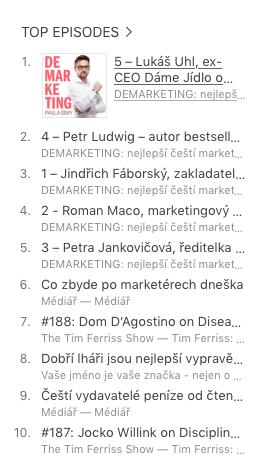 Někdy se dokonce stane, že TOP 5 epizod ze všech podcastů z celého iTunes, jsou epizody DEMARKETINGu