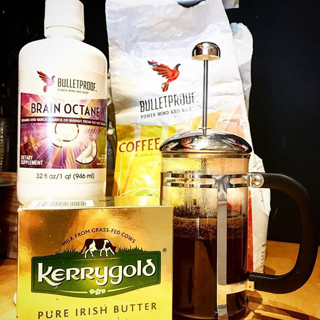 BP-ORIGINAL - Your daily coffee just got an upgrade   #bulletproof #organic #frenchpress #coffee blended with #brainoctane and #kerrygold #grassfed #butter #kissmycake #huntington #longisland #ny