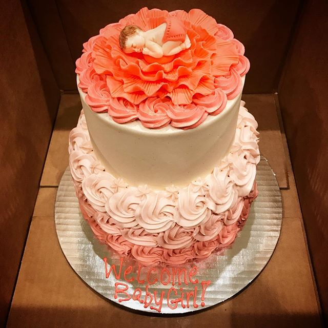 Beautiful #ombre #rose #cake for a #babyshower this past weekend #kissmycake #tieredcake #huntington #longisland #ny