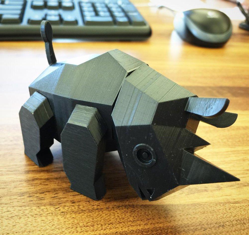 a successful test print, new office mascot