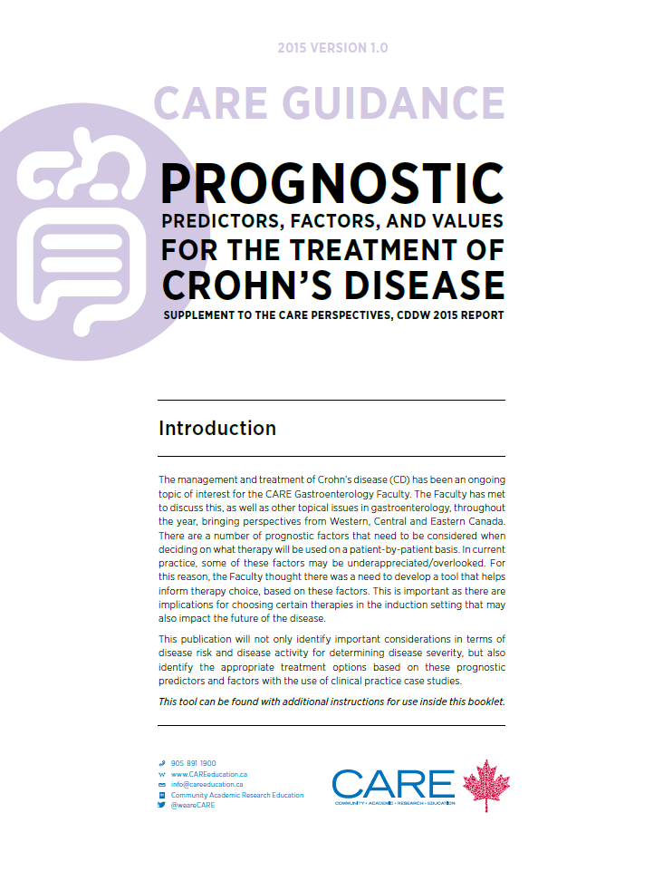 Click here to view the full CARE Guidance on Crohn's Disease Prognostic Predictors.
