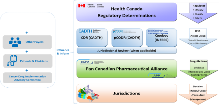 The following graphic depicts the drug approval, pricing and public funding process in Canada (courtesy of the pCPA).