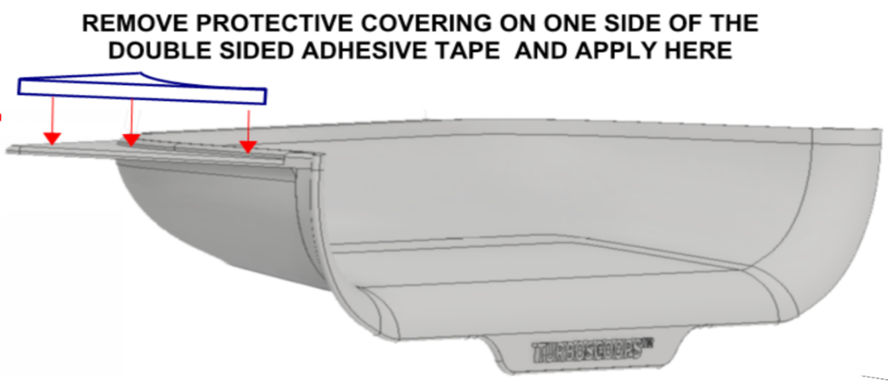 Remove the vertical tab by applying pressure to snap it off from the TURBOSCOOPS ®. You are now ready to apply the adhesive strips and prepare the SCOOPS for installation FOR LATE MODEL TV'S WITH speakers off set from the rear as illustrated BELOW.