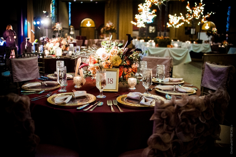 Michael Bambino Co Photography Viva Bella Events Courtenay Lambert Florals Courtenay Lambert Event Design Bell Event Center Bell Event Centre Cincinnati Wedding Florist Cincinnati Wedding Flowers Fall Autumn Purple Orange Table Scape Reception Centerpiece