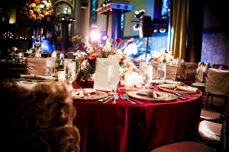Michael Bambino Co Photography Viva Bella Events Courtenay Lambert Florals Courtenay Lambert Event Design Bell Event Center Bell Event Centre Cincinnati Wedding Florist Cincinnati Wedding Flowers Fall Autumn Purple Orange Table Scape Reception Centerpeice