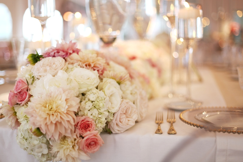 Courtenay Lambert Florals and Event Design, http:courtenaylambert.com.  Wedding of Johanna Johnson and Andrew Brun at Pinecroft Mansion in Cincinnati Ohio.  Gorgeous photography by Kortnee Kate, and flowers and event design by Courtenay Lambert Floral and Event Design. Centerpieces of white hydrangea. blush roses, floating candles.  Wedding florist and designer Cincinnati
