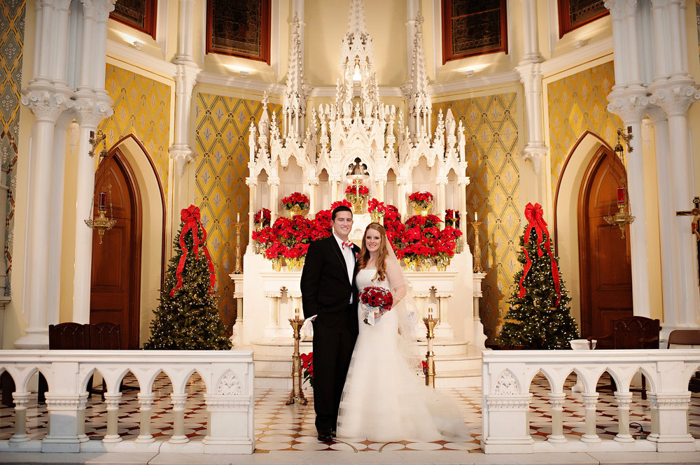 Courtenay Lambert Florals and Event Design, http:courtenaylambert.com.  Wedding of Sarah Haas & David Habel at Duke Energy Center in Cincinnati Ohio.  Gorgeous photography by Kortnee Kate, and flowers and event design by Courtenay Lambert Floral and Event Design.  Immaculate Heart of Mary Chapel. Christmas Wedding. Wedding florist and designer Cincinnati