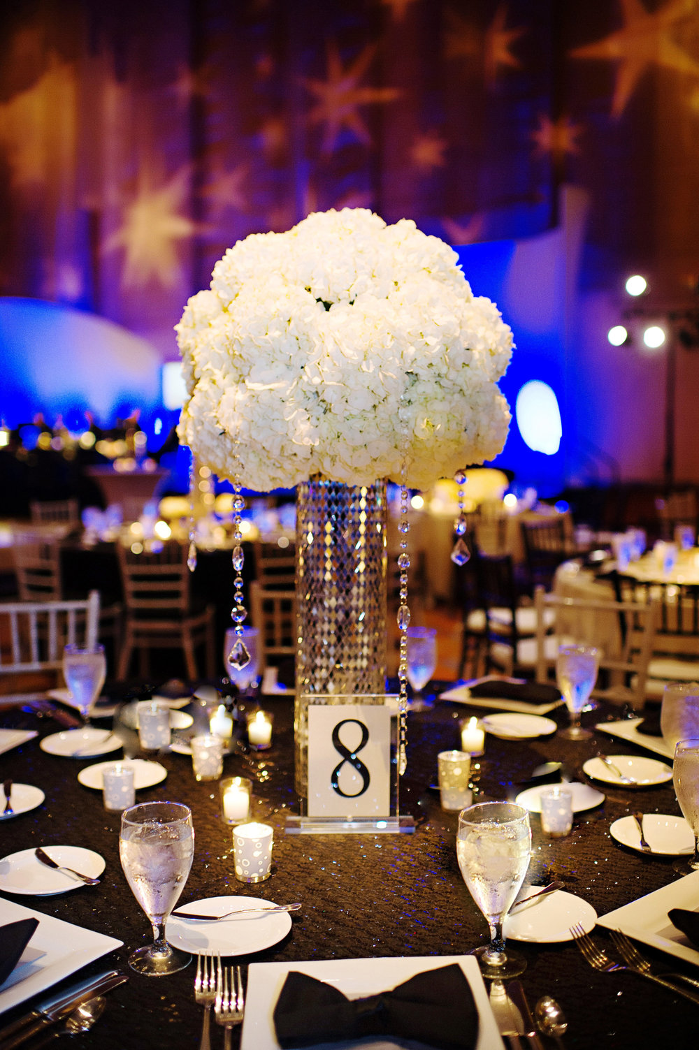 Courtenay Lambert Florals and Event Design, http:courtenaylambert.com.  Wedding of Sarah Haas & David Habel at Duke Energy Center in Cincinnati Ohio.  Gorgeous photography by Kortnee Kate, and flowers and event design by Courtenay Lambert Floral and Event Design. White Hydrangea. Glitter. Sparkle. Christmas Wedding. Wedding florist and designer Cincinnati
