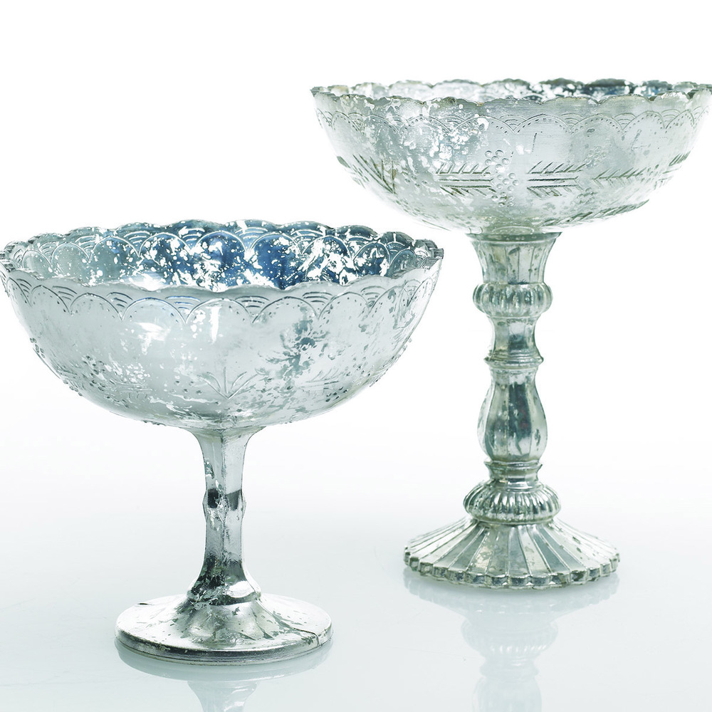 Silver Mercury Glass Compote for Weddings in Cincinnati, OH