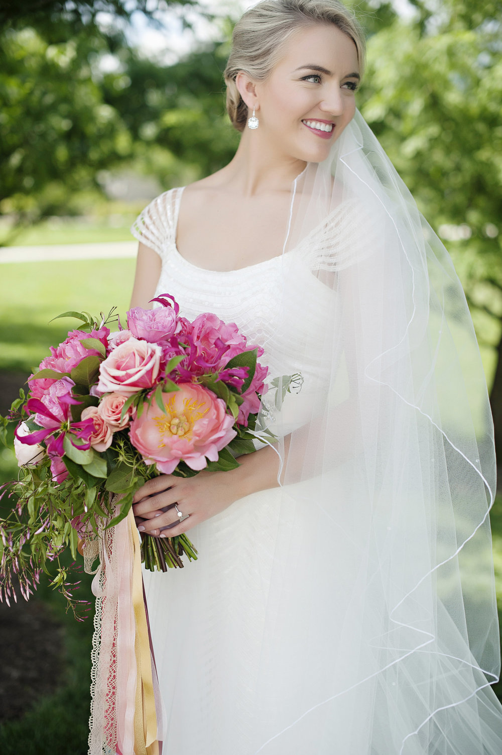 Bride and Bouquet at Hilton Netherland Plaza