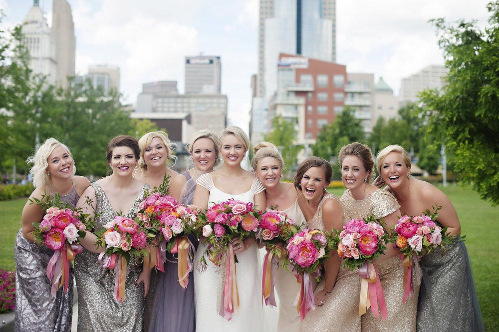 Bridal Party shots in Dowtown Cincinnati