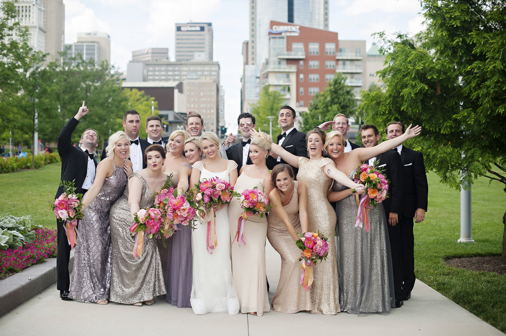 Full Wedding Party shot in Downtown Cincinnati