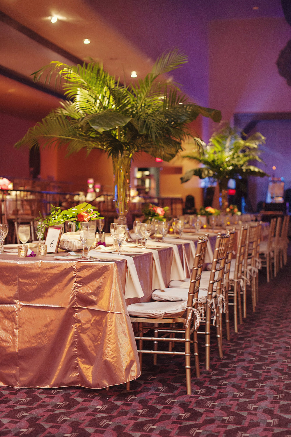Long Table Center Pieces at Hilton Netherland Plaza