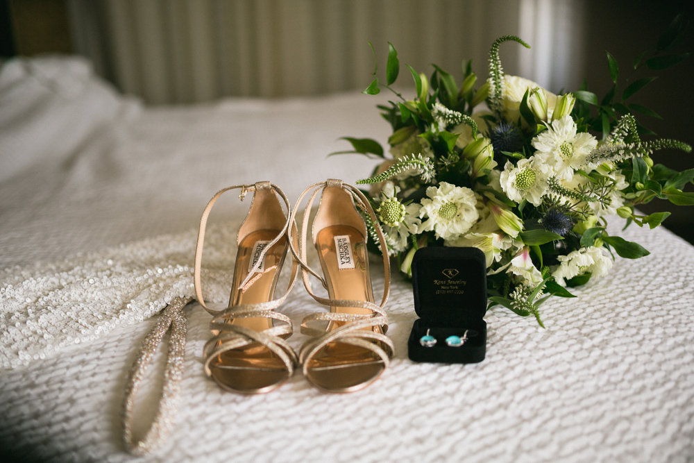 Floral Bouquet, Wedding Shoes and Earings