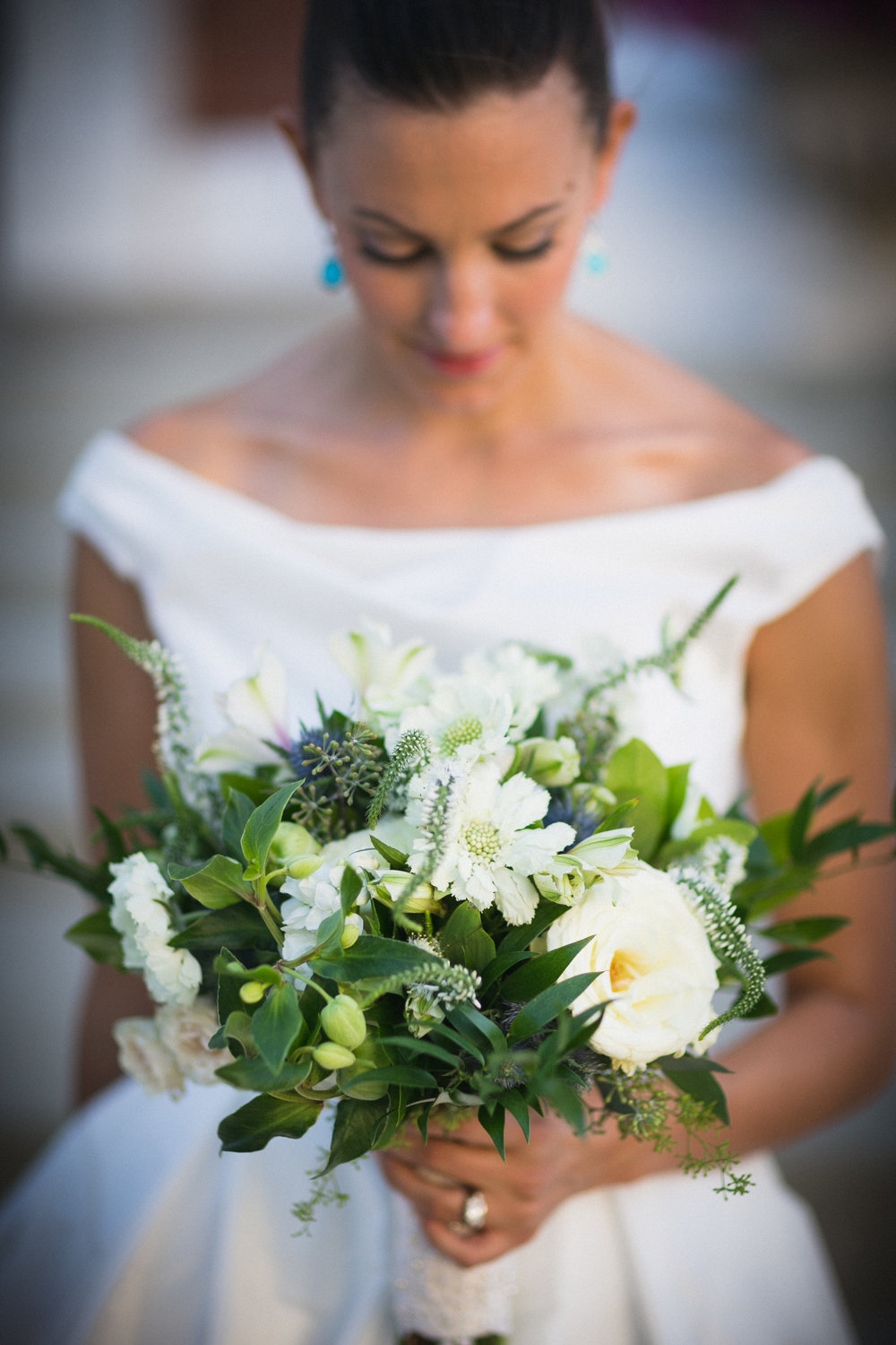 Bride Molly and Bouquet at the Monastery