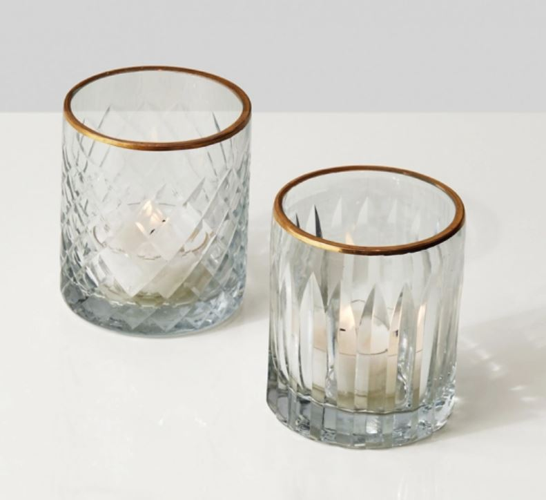 Etched Glass Votives with Gold Rims