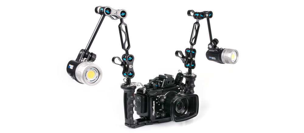 The NA-LX100 configured with two FIX Neo 2500 DX Video Lights.