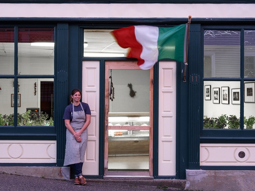 Pastaio via Corta's Danielle Glantz in front of her Center Street shop. (Photograph by Shawn Henry)