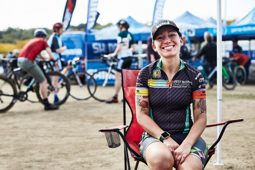 Sara Melikian, of Wilbraham, Mass., finished 35th in the Women's UCI Cat2 race on Sunday — and had a blast doing it. (Photograph by Jonathan Kozowyk)