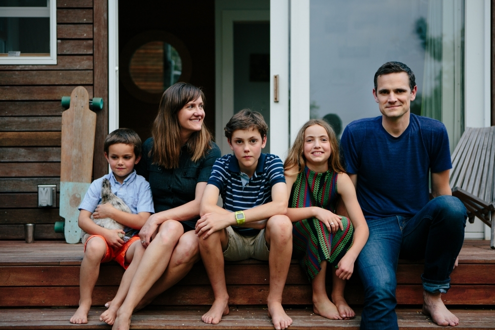 The Ferguson Sauders (l to r), Asher, Meg, Cole, Olive, and Tim, on the front porch of their shed. (Photograph by Mark Spooner)