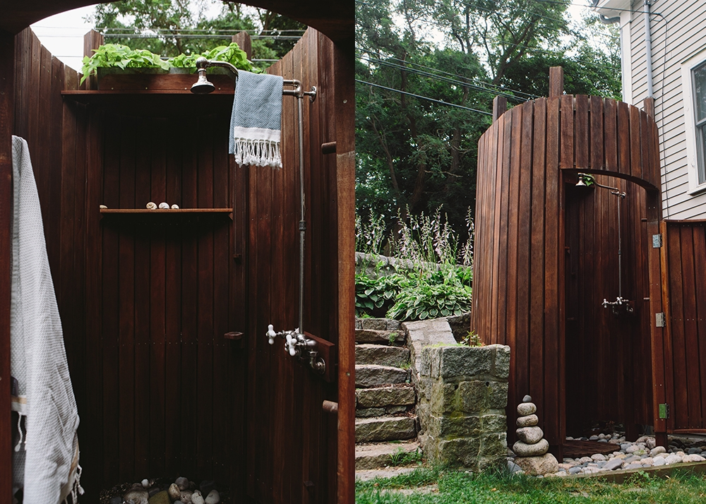 "The outdoor shower — a.k.a. ""The Silo"" — was built before the shed, but remains one the family's favorite things. (Photograph by Mark Spooner)"