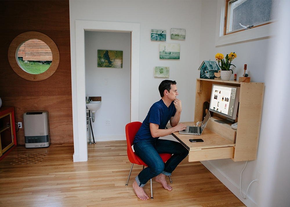 Tim Ferguson Sauder uses the shed as a design studio. (Photograph by Mark Spooner)