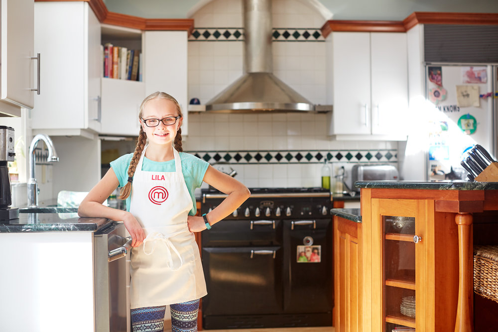 MasterChef Junior  contestant Lila DeLuca in her Rockport kitchen. (Photograph by Jonathan Kozowyk)