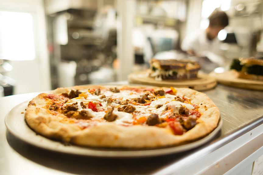 Lamb sausage, pepperoncini, and stracciatella pizza