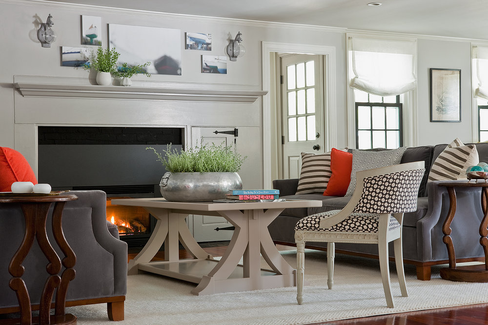 Designer Amy Meier's custom coffee table anchors the O'Brien family's living room. (Photograph by Michael J. Lee)
