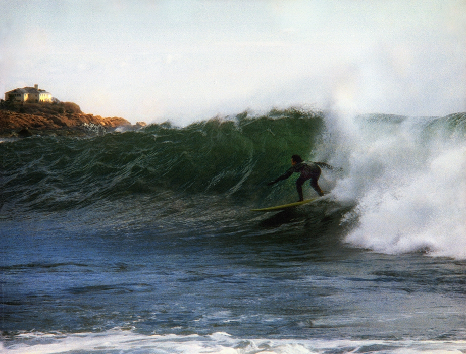 Jay Gustaferro riding a massive swell at Good Harbor beach, courtesy of a December 2009 nor'easter. (Photograph by Grace Gustaferro)