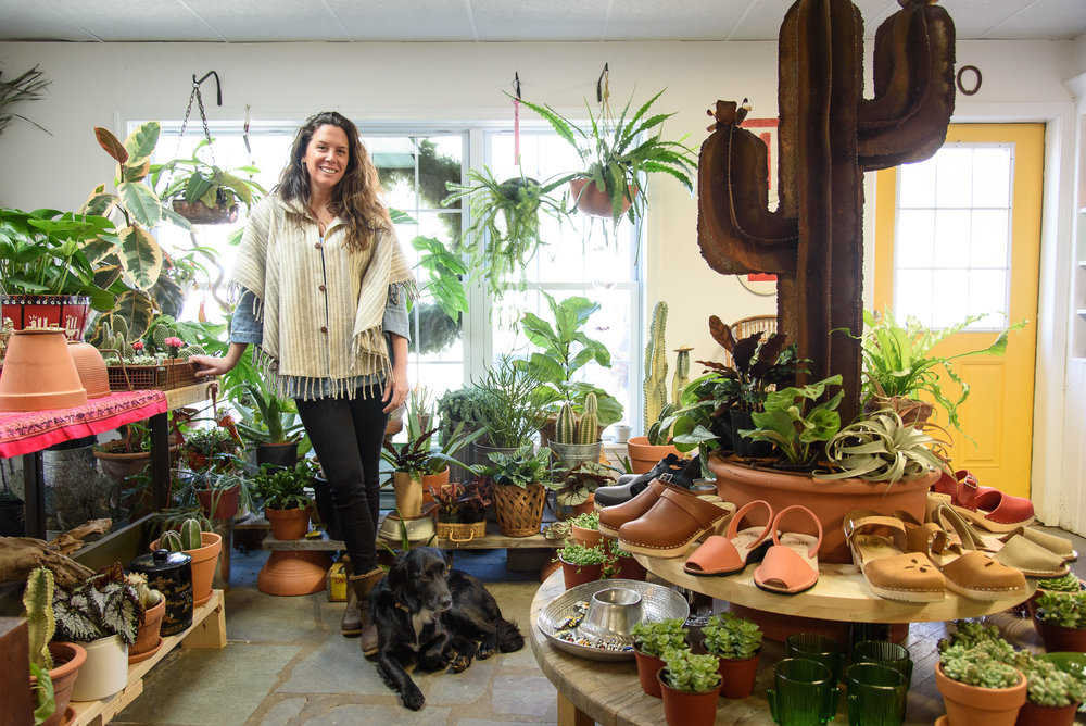 Lyndsay Maver, owner of Lynzarium's Plant Shack in East Gloucester. (Photograph by Shawn Henry)