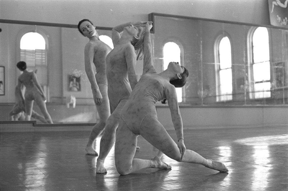 Ina Hahn (kneeling) in her Center Street studio, ca. 1970. (Courtesy of Lisa Hahn)