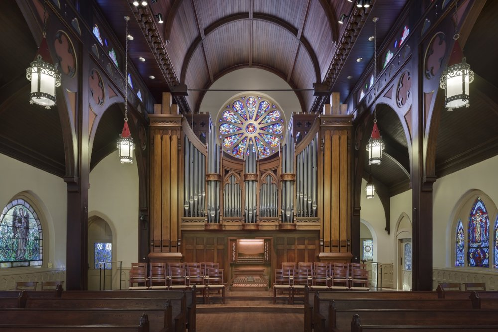 Opus 136, Fisk's organ in St. Peter's Episcopal Church in Charlotte, North Carolina, was completed in 2010. (Photograph courtesy of C.B. Fisk)