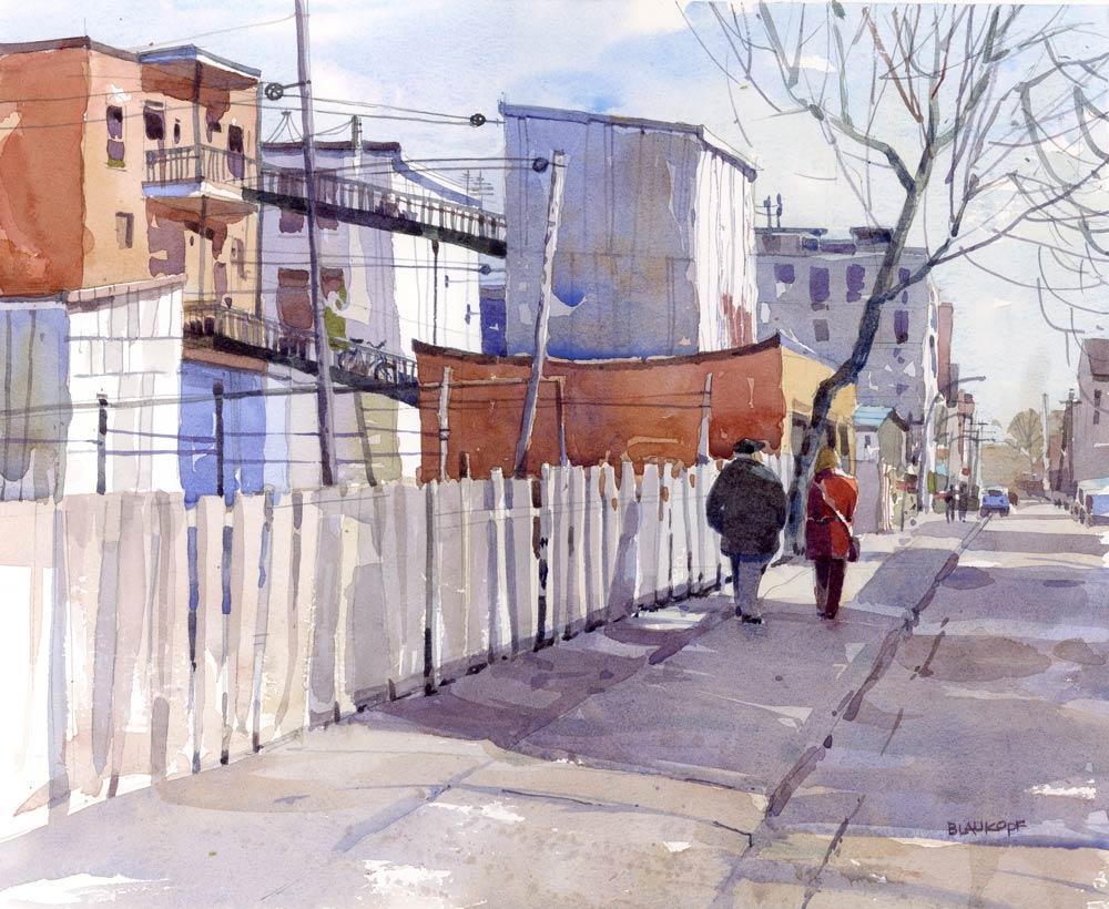 Walkways, a street scene in Blaukopf's hometown of Montréal.