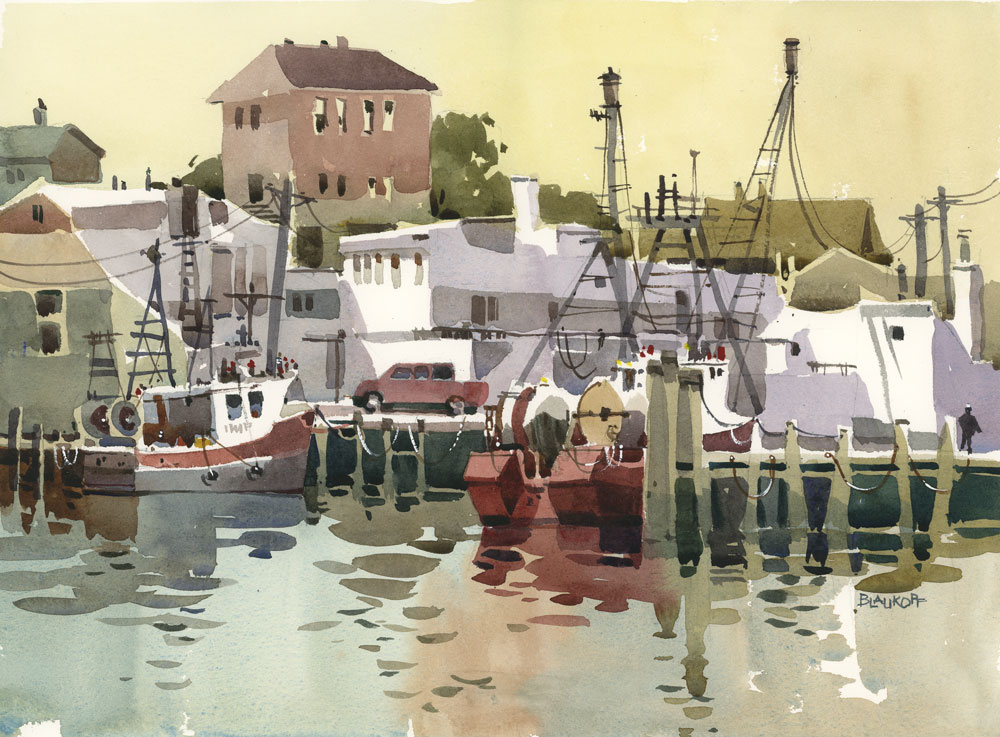 Blaukopf's painting of Gloucester harbor.