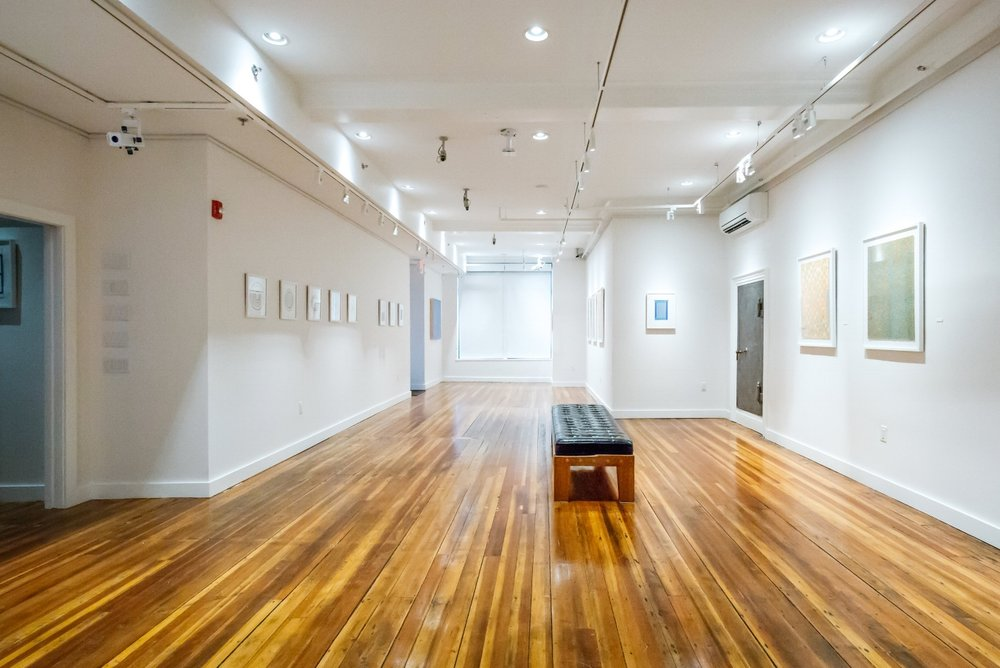 The Trident Gallery occupies the space of a former bank — that's the old vault door on the right. (Photograph by Dana Wendt)