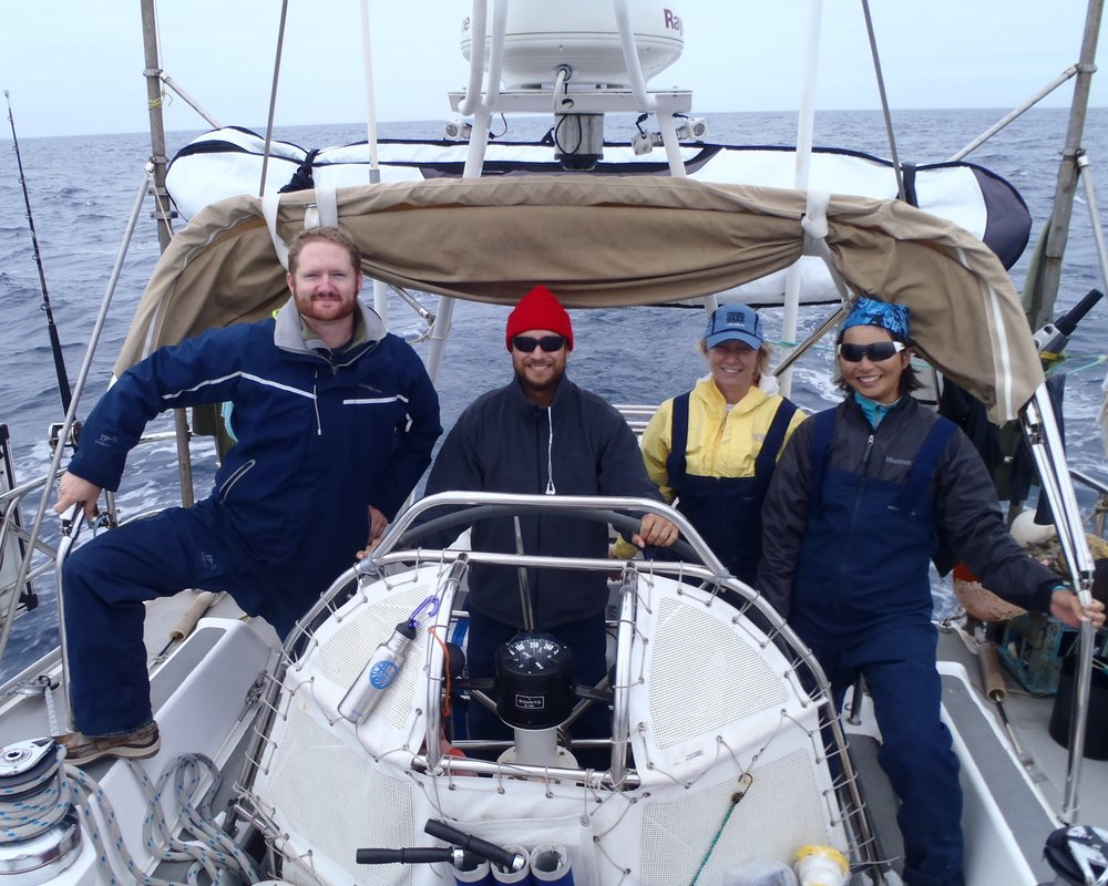 Ristuben (in yellow) with her crewmates from the  Sea Dragon . (Courtesy of Karen Ristuben)
