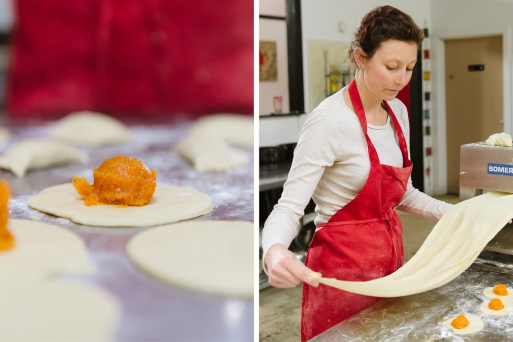 A Jaju Sweet Potato pierogi, in progress (left). Vanessa White makes the dough.(Photograph by Katie Noble)