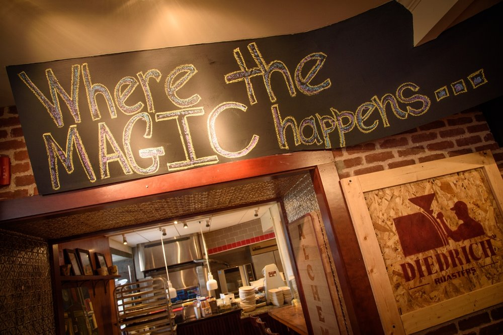 The entrance to the kitchen at Happy Belly (formerly Alchemy) in Gloucester. (Photograph by Shawn Henry)