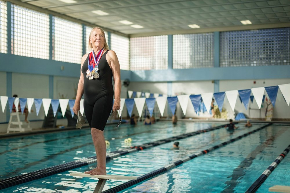 Masters swimmer Kathy Slifer, 71, at the Cape Ann YMCA pool. (Photograph by Jason Grow)