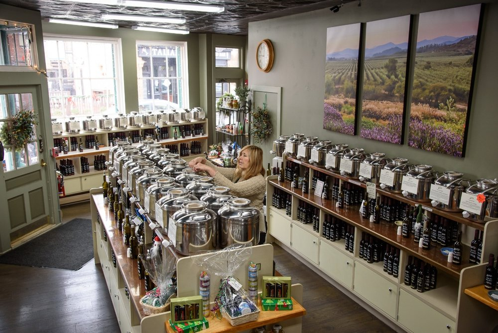 Cape Ann Olive Oil Co. carries a wide range of oils and vinegars, along with several locally-produced products. (Photograph by Shawn Henry)