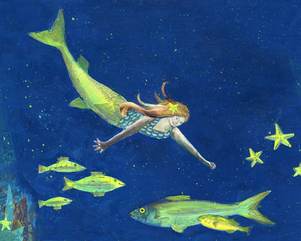 Night Swimming , one of Mary Faino's mermaid-themed paintings .