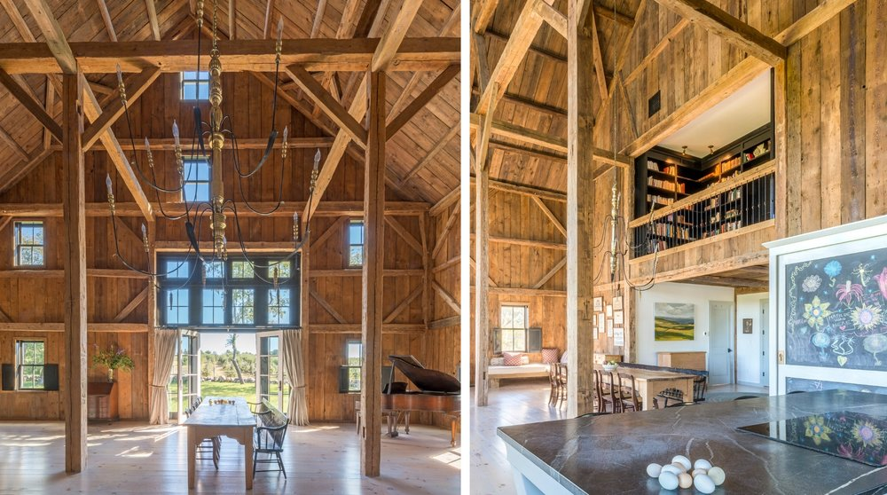 The great room, which includes a kitchen and dining area, soars to the rafters (left). Right, a library overlooks the open space below. (Photographs by Nicole Whitten)