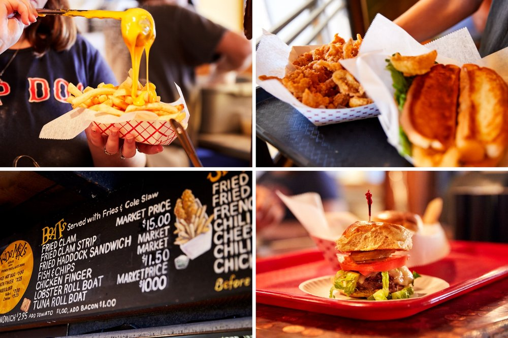 Clockwise, from top left: Cheese fries, fried clams, hamburger slider, and a part of the Top Dog menu. (Photographs by Jonathan Kozowyk)