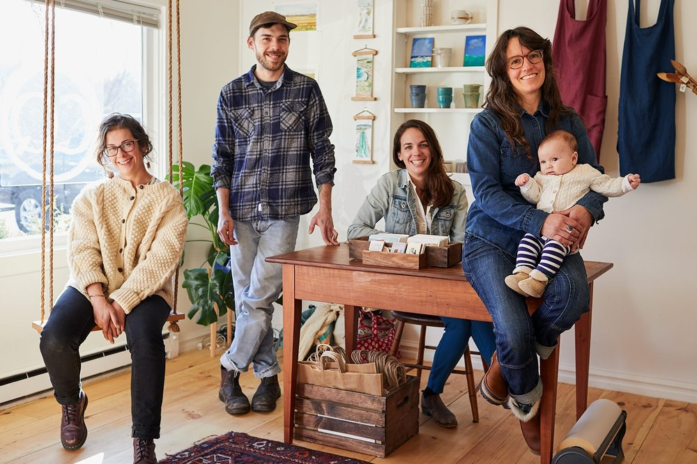 The Close Quarters Collective (from left): Sarah Wonson, Winston Daddario, Shana Holub, and Alyssa Pitman (with Oscar). (Photograph by Jonathan Kozowyk)