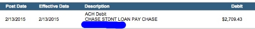 Screenshot of my bank account statement proving the payment happened
