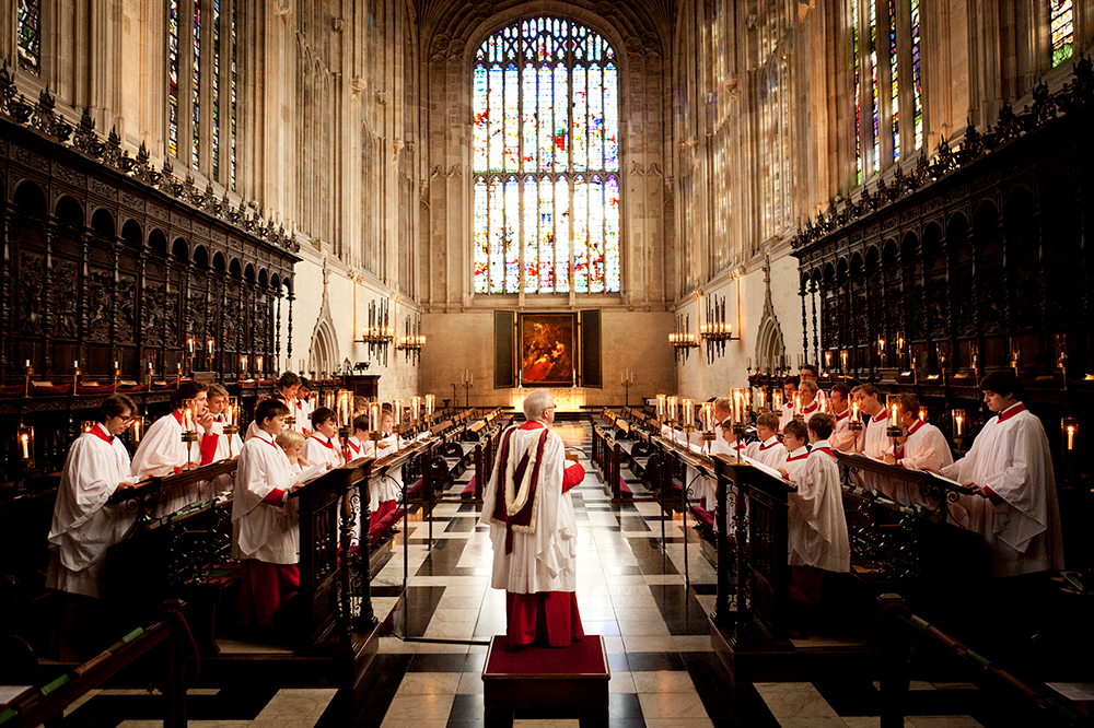 The Choir of King's College, Cambridge, performing in King's College Chapel. Photo © Benjamin Ealovega